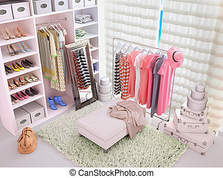 Light dressing room with bright clothing. 3d illustration