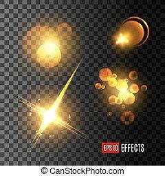 Light effect set of golden glitter, star, sun beam