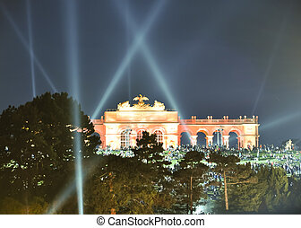 light effects at vienna's gloriette at night at a...