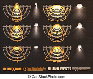 Light Effects Infographics - Light effects infographics with...