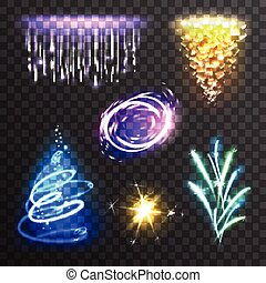 Light effects set - Realistic burst sparkle and flash light...