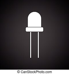 Light-emitting diode icon. Black background with white....