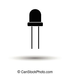 Light-emitting diode icon. White background with shadow...