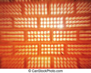 Light entering the holes of a clay brick wall with motion blur