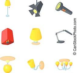 Light equipment icons set, cartoon style
