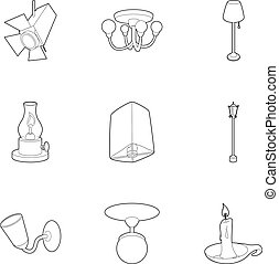 Light equipment icons set, outline style