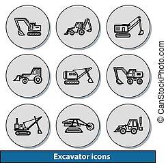Light excavator icons