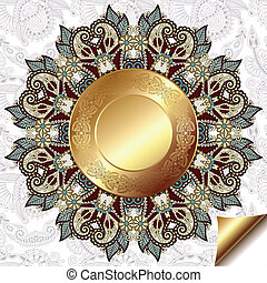 light floral background with gold circle pattern and circle lace ornament, round ornamental geometric doily pattern
