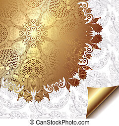 light floral background with gold ribbon and circle pattern, eps 10