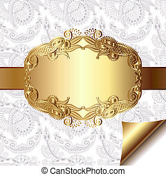 light floral background with gold ribbon and ornamental pattern for your text, eps 10