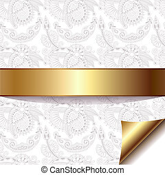 light floral background with gold ribbon, eps 10