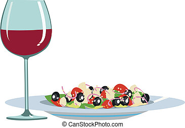 Light food and wine - Caesar salad and glass of red wine