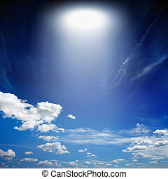 Light from above - Abstract fantastic background - blue sky,...