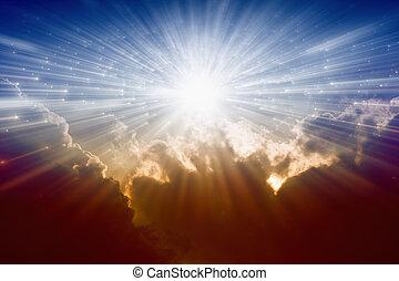Light from avobe - Beautiful background - bright sunshine,...