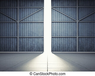 Light from hangar doors - Bright light in open hangar doors