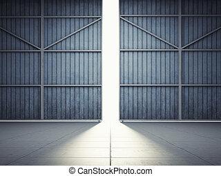 Light from hangar doors - Bright light in open hangar doors