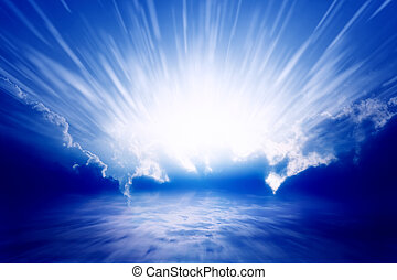 Abstract peaceful background - bright sun light in blue sky