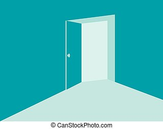 Light from the open door in mint blue colors. Vector illustration
