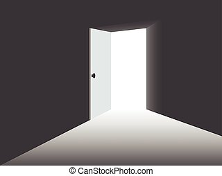 Light from the open door. Vector