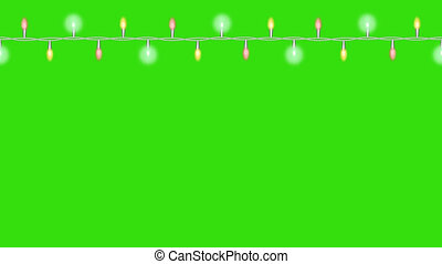 Light garland with flashing lights. Loop footage 4k with Alpha cannel for web banners, christmas and holiday decorations