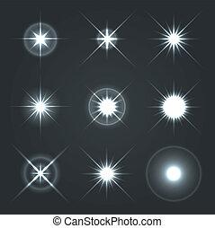 Light Glow Flare Stars Effect Set. Vector