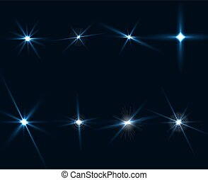 Light Glow Flare Stars Effect Set on transparent background. Vector illustration