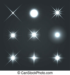 Light Glow Flare Stars Effect Set. Vector