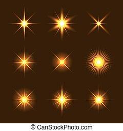 Light Glow Flare Stars Effect Set.