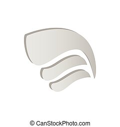 Light gray simple wing icon, isometric 3d style