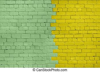 Light Green and Yellow Brick Wall