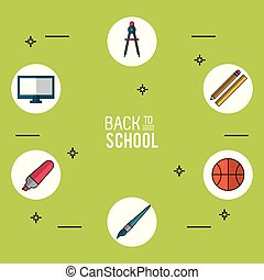 light green background poster of back to school with essential school icons in round frames