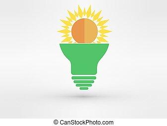 Light green bulb with  sun. Vector