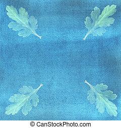 Light green chrysanthemum leaves on blue watercolor background.