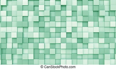 Light green cubes - Swaying green squares motion background