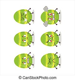 Light green easter egg cartoon character with various angry expressions