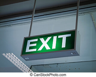 Light green Exit sign