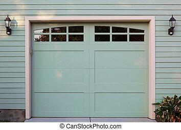 Light green garaage door