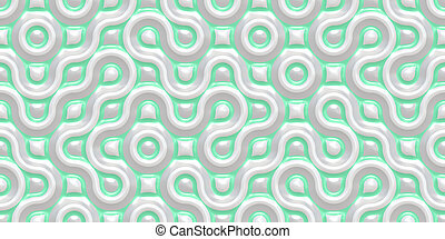 Light Green Grey Seamless Truchet Tilling Background. Geometric Mosaic Connections Texture. Tile Circles Labyrinth Backdrop.
