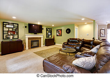 Light green living room with comfortable leather couch