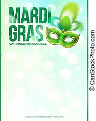 Light green Mardi Gras poster template with bokeh effect and carnival mask