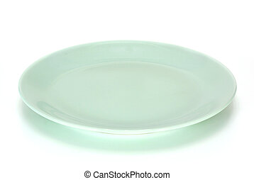 light green plate isolated on white background