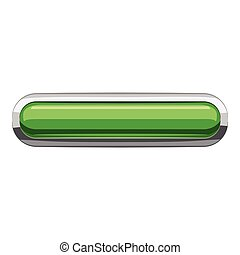 Light green rectangular button icon, cartoon style