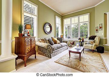 Light green room in luxury house