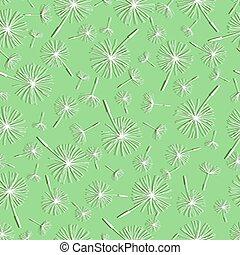 Beautiful nature background seamless pattern light green with white flower dandelion fluff. Floral seamless pattern with spring or summer flowers. Stylish romantic trendy wallpaper. Vector illustration