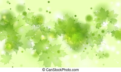 Light green shiny summer leaves abstract video animation -...