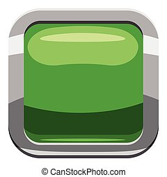 Light green square button icon, cartoon style