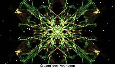 Light green symmetric fractal patterns with white flying...