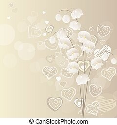 Light grey background with lily of the valley