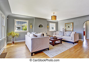 Light grey living room with white sofas - Light grey living ...