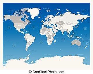 Light grey political World map on blue gradient background. Vector illustration